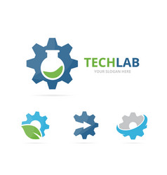 Set of gear logo combination mechanic and lab vector