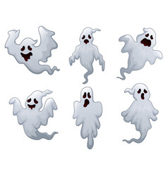 Set of halloween ghosts vector