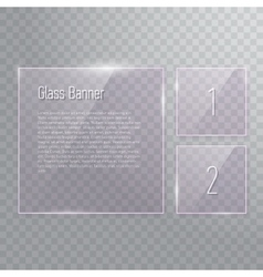 Set of transparent reflecting square glass banners vector