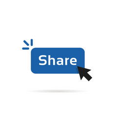 Share blue button with cursor arrow vector