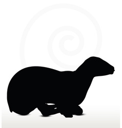 Sheep silhouette with laying pose vector