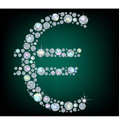 Shiny sign euro vector image