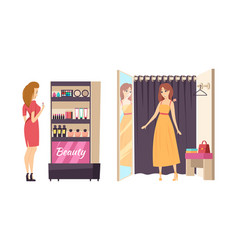 shopping beauty makeup stand isolated set vector image