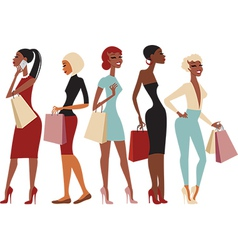 Shopping girls characters vector image