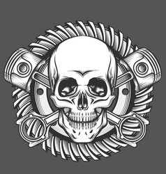 Skull with pistons against motorcycle gear emblem vector