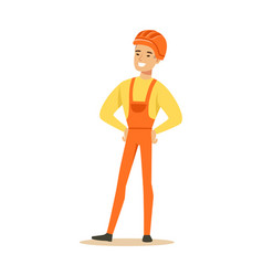 smiling construction worker wearing orange helmet vector image