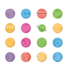 space planets icons vector image
