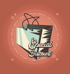 special discount paper bag retro shopping style vector image