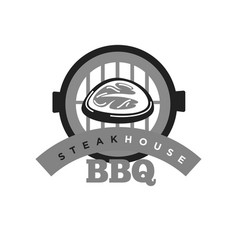 Steak house bbq monochrome emblem for meat vector