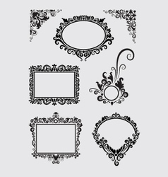 Swirl Ornaments Floral Frame and Corner vector