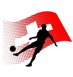switzerland soccer player against national flag vector image