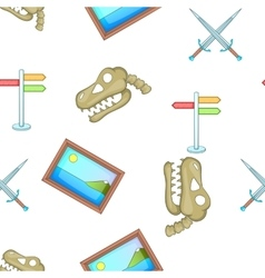 Symbols of museum pattern cartoon style vector