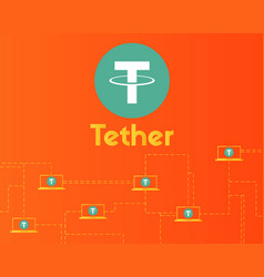 Tether cryptocurrency connect technology vector