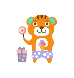 Tiger With Party Attributes Girly Stylized Funky vector