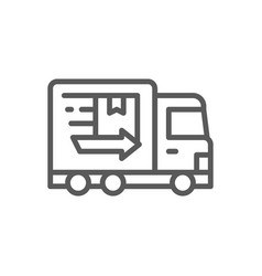 Truck fast delivery line icon vector