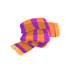 twisted striped scarf in orange and purple colors vector image
