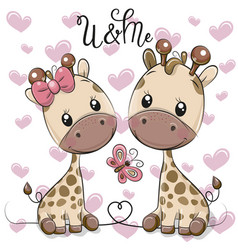 Two cartoon giraffes on a hearts background vector