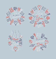 valentines day flat monograms gray vector image