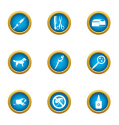 Vet deal icons set flat style vector