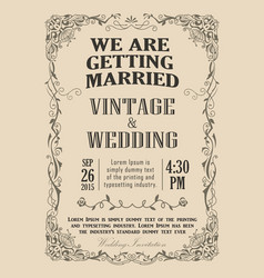 Wedding invitation frame vintage border vector