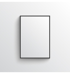 White blank poster with frame mock-up on grey wall vector