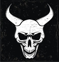 White Grunge Demon Skulls vector