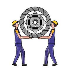 Worker mechanics with automotive clutch disc vector