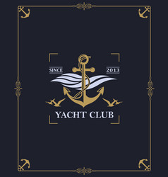 Yacht club label vector