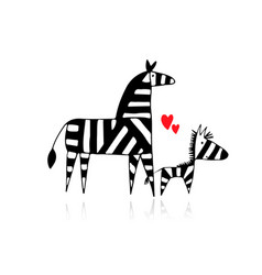 zebra family mother and child sketch for your vector image
