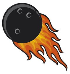 bowling ball in fire vector image vector image