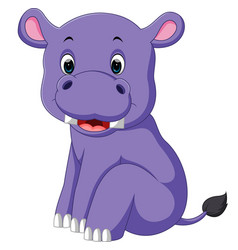 cartoon cute baby hippo vector image