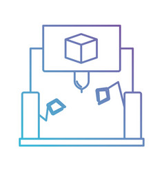 cube design with robotic hands in color gradient vector image
