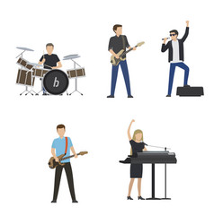 faceless musicians plays on instruments and sing vector image