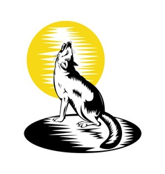 fox wild dog howling vector image vector image