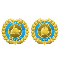gold cat and dog pet medals vector image