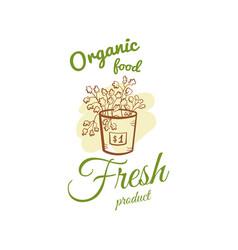 Organic food fresh product badge vector
