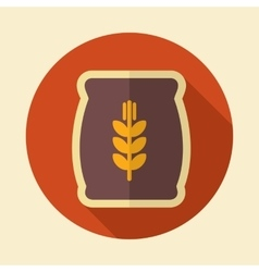 Sack of grain retro flat icon with long shadow vector image vector image