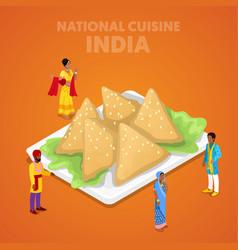 isometric india national cuisine with samosa vector image