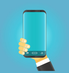 Man holding modern smartphone vector