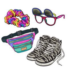 set of retro pop culture items from 90s vector image vector image