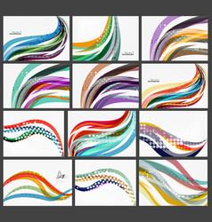 set of wave elegant modern geometrical templates vector image