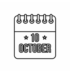 Calendar of Columbus Day icon outline style vector image