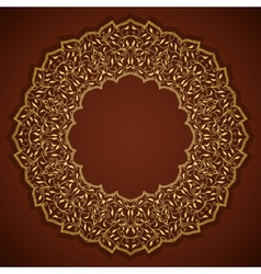 Lace gold round ornament with leaves vector image vector image