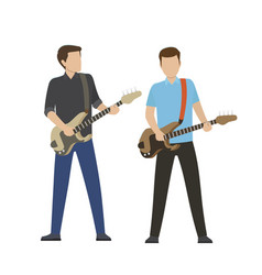 male characters play on electric and bass guitars vector image