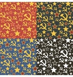 Set of Soviet Union seamless patterns vector image