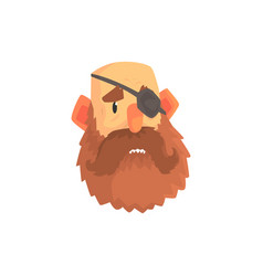 bearded man face with eye patch cartoon character vector image vector image