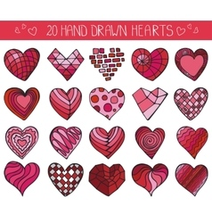 Hand drawing hearts doodle setColored geometric vector image