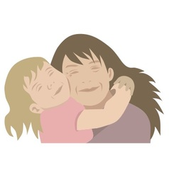 mother and child hugging vector image