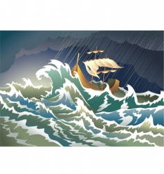 ship sinking in the storm vector image vector image
