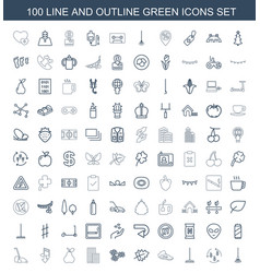 100 green icons vector
